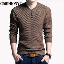 979a1e0db5 Solid Color Pullover Men V Neck Sweater Men Long Sleeve Shirt Mens Sweaters  Wool Casual Dress