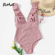 Romwe Sport Pink Solid Swimwear Plunge Neck Ruffle One Piece Swimsuit Women Summer Wire Free Monokinis Beachwear Swimsuit