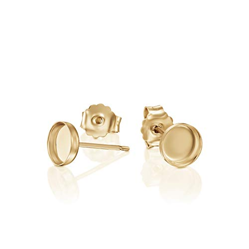 14k Gold-Filled 6 mm Bezel Round Setting Stud Earrings with Post & Butterfly Backs, 4 Pcs (2 Pairs)