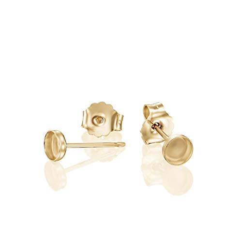 14k Gold-Filled 4 mm Round Bezel Setting Stud Earrings with Post & Butterfly Backs, 4 Pcs (2 Pairs)