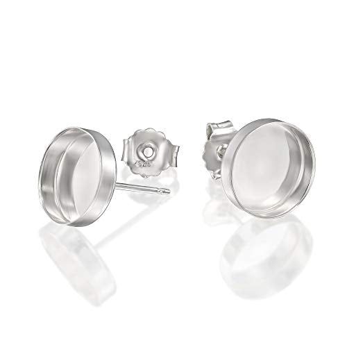 925 Sterling Silver Round Setting 10 mm Bezel Cups Stud Earrings with Post & Butterfly Backs, 4 Pcs (2 Pairs)