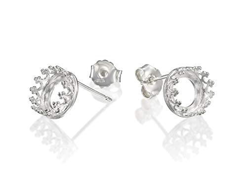 925 Sterling Silver 8 mm Crown Round Setting Post Earrings Blanks with Butterfly Backs, 4 Pcs (2 Pairs)