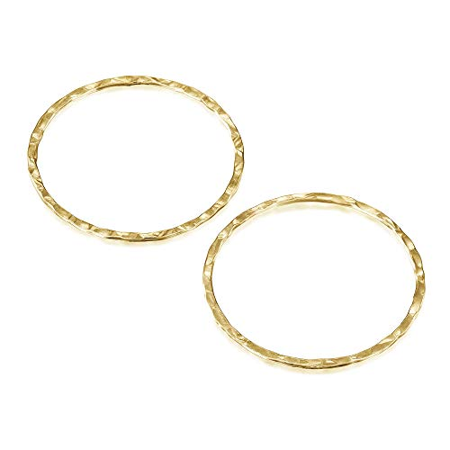 14k Gold Filled 30 mm Hand Hammered Hoops Rings or Circles Jewelry Findings for Your DIY Earrings Necklaces & Bracelets Creations, 4 Pcs