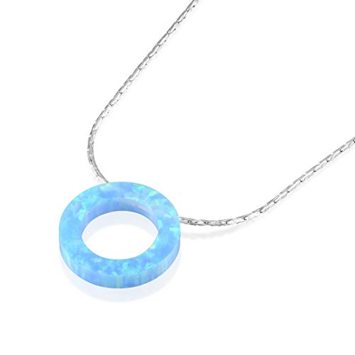 Sterling Silver Eternity Circle Blue Fire Opal Pendant Necklace, 18 + 4 Inches