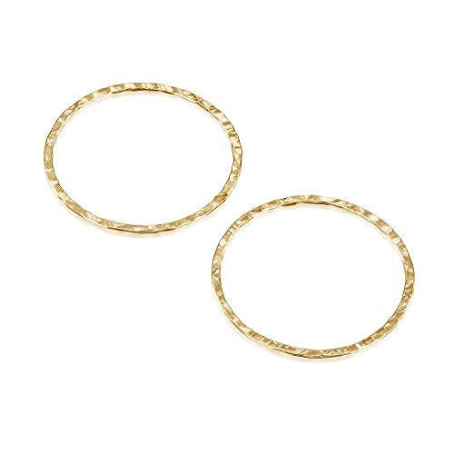 14k Gold Filled 25 mm Hand Hammered Hoops Rings or Circles Jewelry Findings for Your DIY Earrings Necklaces & Bracelets Creations, 4 Pcs