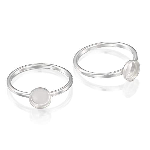 2 Pcs 925 Sterling Silver Size 6 Ring with 6 mm Round Bezel Setting Blank for DIY Rings