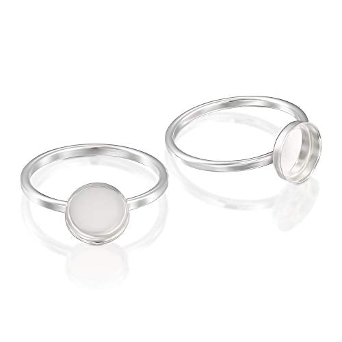 2 Pcs 925 Sterling Silver Size 6 Ring with 8 mm Round Bezel Setting Blank for DIY Rings