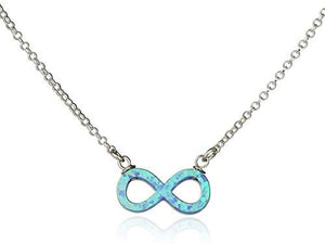 925 Sterling Silver Eternity Necklace with Blue Fire Opal Infinity Pendant