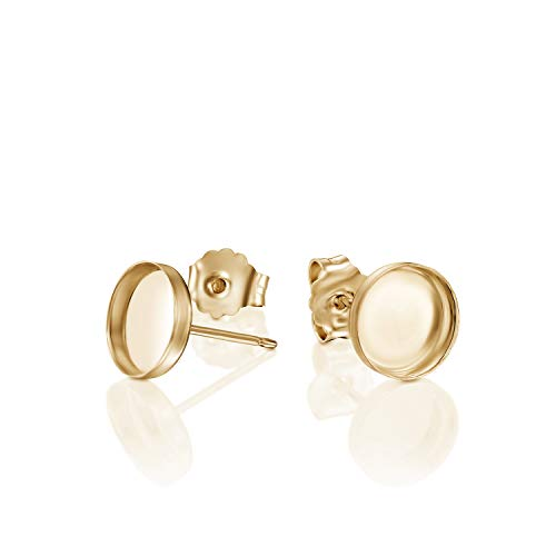 14k Gold-Filled 8 mm Round Setting Bezel Cups Stud Earrings with Post & Butterfly Backs, 4 Pcs (2 Pairs)