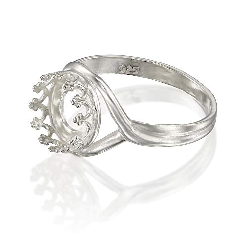 925 Sterling Silver Size 7 Ring with 8 mm Crown Shaped Round Setting Blank for DIY Rings, 1 Pc