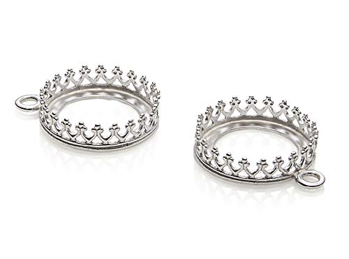 2 Pcs 925 Sterling Silver 14 mm Bezel Round Crown Setting with Loop Findings for Pendants Charms or Earrings