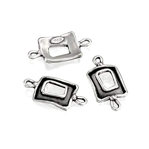 3 Pcs Square Shaped 925 Sterling Silver Charms with Loops for Your DIY Earrings or Necklace Creations
