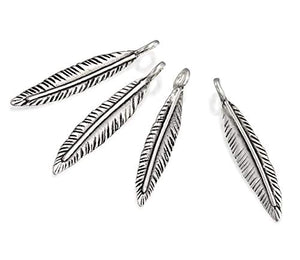 4 Pcs Feather Shaped 925 Sterling Silver Charms for Your DIY Earrings or Necklace Creations