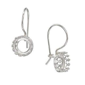 925 Sterling Silver 8 mm Crown Round Setting Kidney Ear Wire Mounting for DIY Earrings, 2 Pcs (1 Pair)