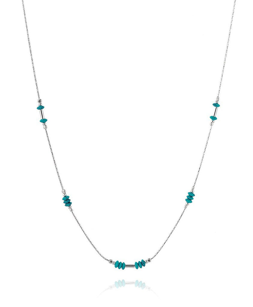 "Graceful 925 Sterling Silver Reconstituted Turquoise Bead Necklace , 18"" + 4"" Extender"