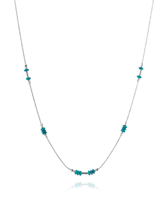 Graceful 925 Sterling Silver Compressed Turquoise Bead Necklace , 18