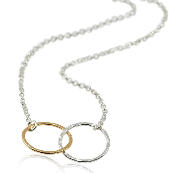 Handmade Women's Jewelry Silver & Gold Eternity Infinity Necklace, 18