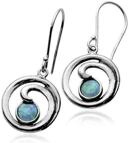 Stera Jewelry 925 Sterling Silver Round Spiral Shaped Created Blue Fire Opal Earrings
