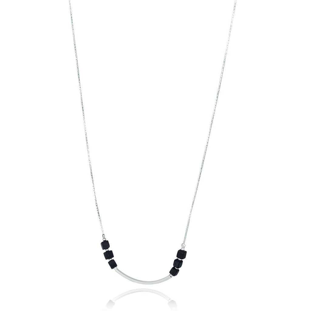 "Black Onyx Necklace with Matte Cube Beads & Polished Silver Tube, 18"" + 4 Extender"