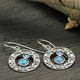 Stera Jewelry Textured 925 Sterling Silver Circle Earrings with 2 Round Created Blue Fire Opals