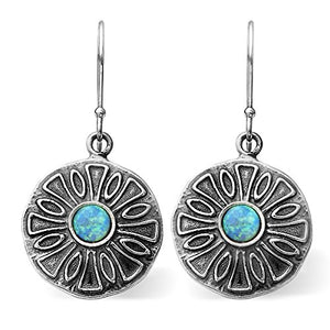 Stera Jewelry Vintage Style 925 Sterling Silver Round Created Blue Fire Opal Dangle Earrings