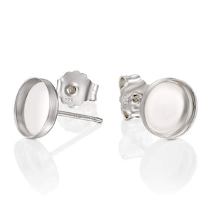 Round Setting 925 Sterling Silver 8 mm Bezel Cups Stud Earrings with Post & Butterfly Backs, 2 or 4 Pcs
