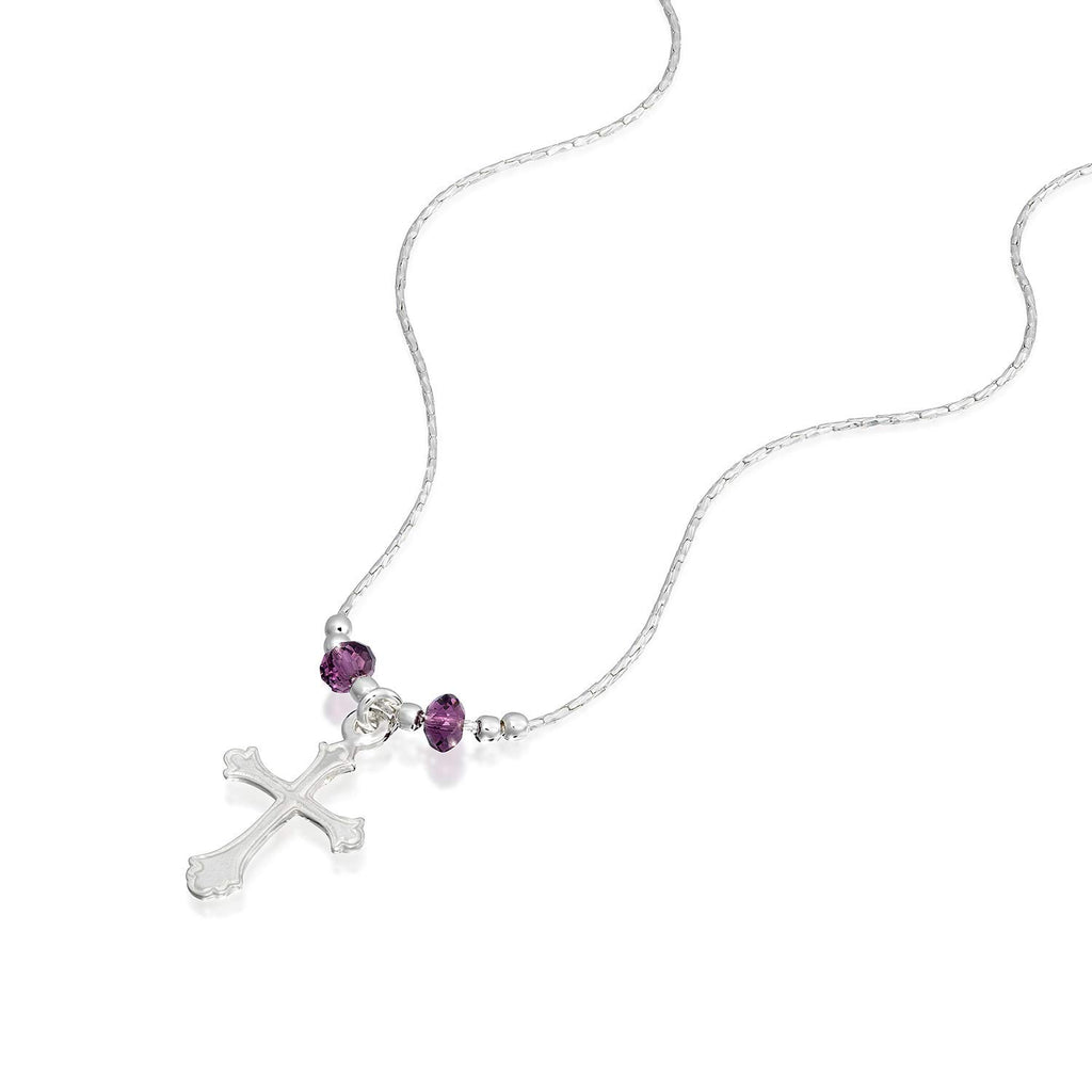 "Girls Ornate Silver Cross Pendant Necklace with Swarovski Purple Crystals, 16"" + 4"" Extender"