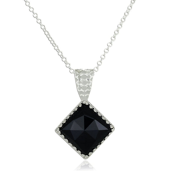 Silver Necklace With Black Onyx Diamond Shaped Pendant, 18
