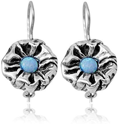 Stera Jewelry 925 Sterling Silver Created Blue Fire Opal Flower Earrings with Secure Backs