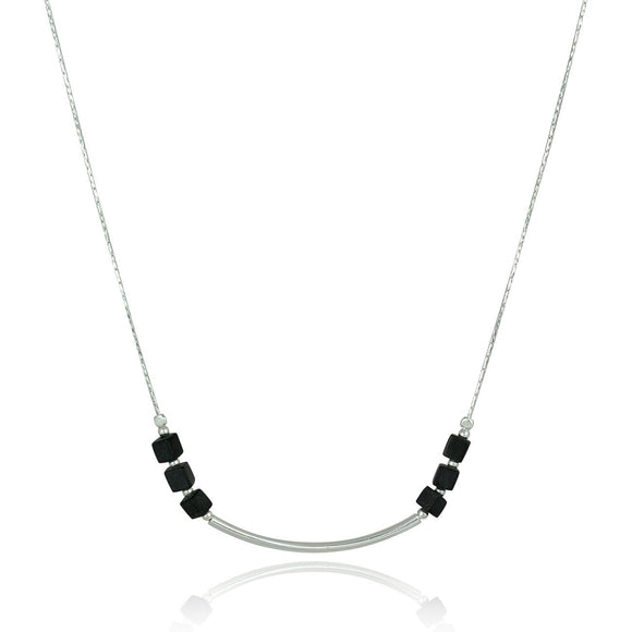 Black Onyx Necklace with Matte Cube Beads & Polished Silver Tube, 18