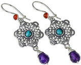 Stera Jewelry 925 Sterling Silver Snowflake Earrings with Carnelian Compressed Turquoise & Amethyst