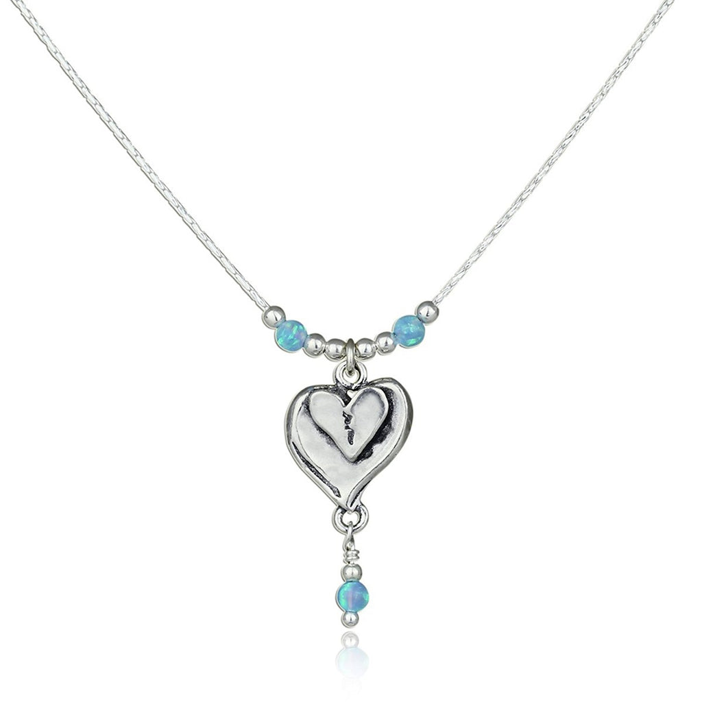 "Heart Pendant 925 Silver Necklace with Blue Fire Opal Beads, 18""+4"" Extender"