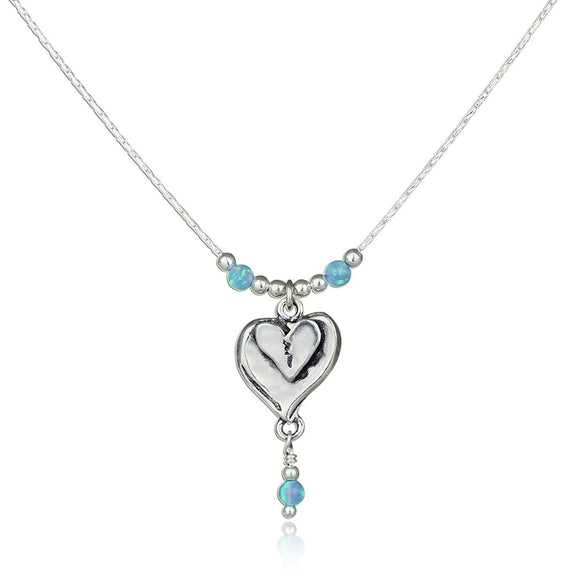 Heart Pendant 925 Silver Necklace with Blue Fire Opal Beads, 18