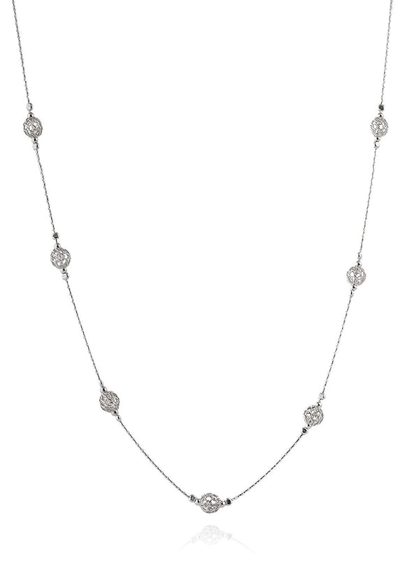 Handmade Silver Beads Stations Necklace, 18