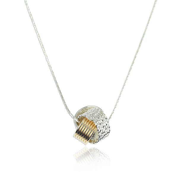 Women's Silver & Gold Love Knot Pendant Necklace, 18
