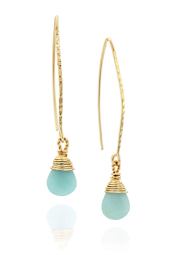 Stera Jewelry Women's 14k Gold Filled Hand Wrapped Amazonite Gemstone Long Wire Threader Earrings