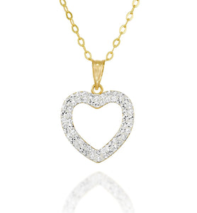 Gold or Silver Swarovski Crystal Pavé Heart Pendant Necklace, 18""