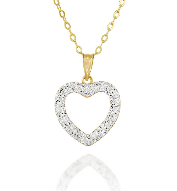 Gold or Silver Swarovski Crystal Pavé Heart Pendant Necklace, 18