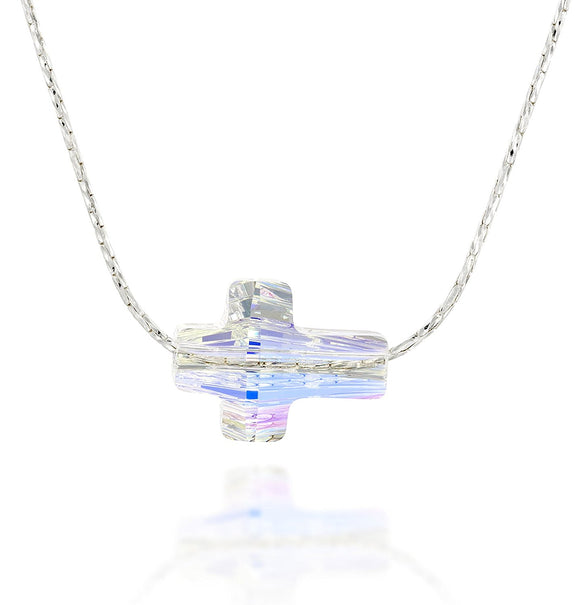 Swarovski Crystal Sideways Cross Necklace, 18