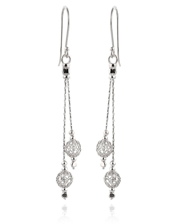 Filligree Earrings 925 Sterling Silver Bead Earrings Elegant Everyday Dangle Earrings