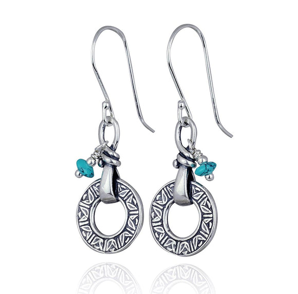 Retro 925 Sterling Silver Turquoise Earrings Classic Round Circle Design with Rondelle Bead Accent