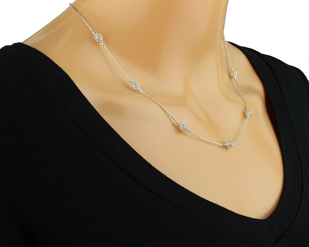 "Handmade Silver Beads Stations Necklace, 18"" + 4"" Extender"