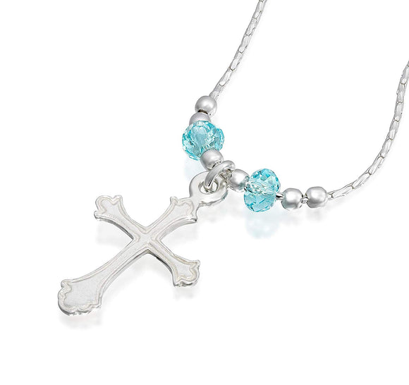 Girls Ornate Silver Cross Pendant Necklace with Swarovski Light Blue Crystals, 16