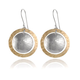 Unique Silver and Gold Hand Hammered Circle & Disc Dangle Earrings