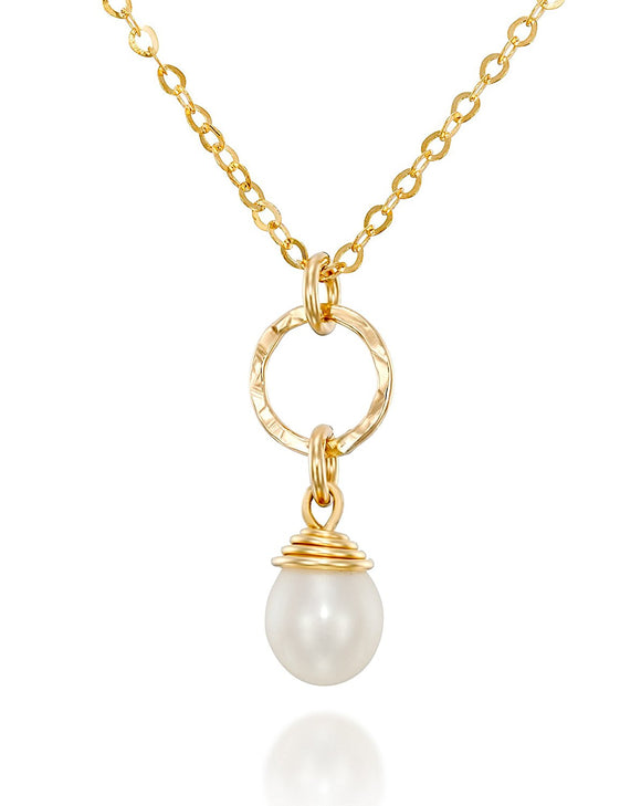 Gold Pearl Pendant Necklace Bridal Bridesmaids Wedding Jewelry, 18