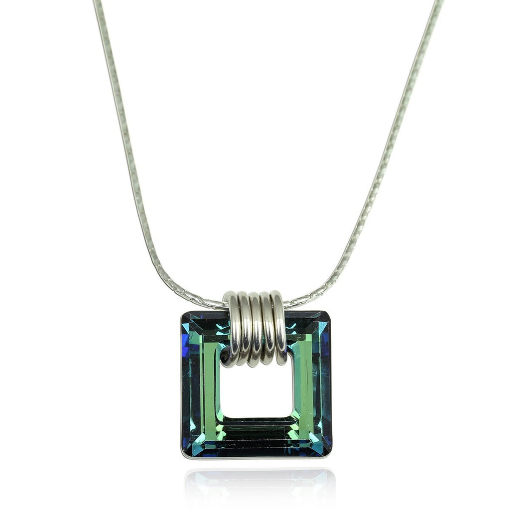 "Choice of Color Bermuda Blue or AB Swarovski Crystal Square Pendant Necklace, 18"" +4"" Extender"