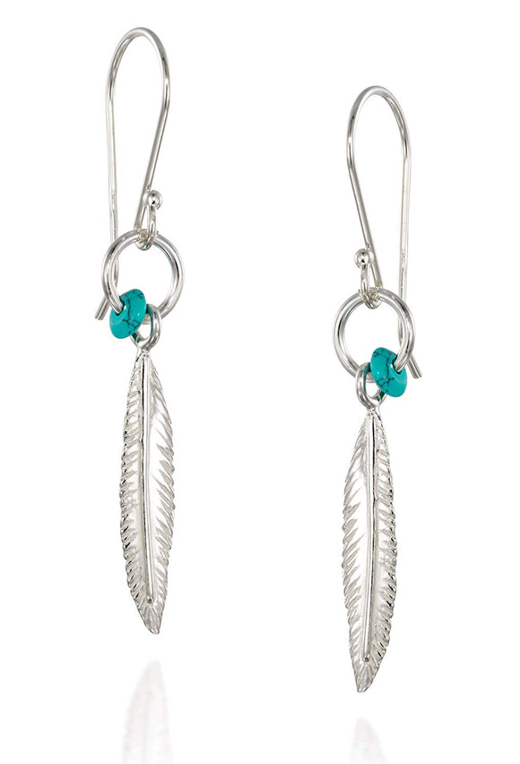 Fashionable Women's Feather Earrings in 925 Sterling Silver with Turquoise Bead Accent and Small Hoop