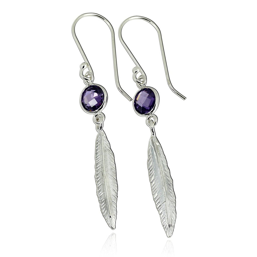 Fashionable Feather Earrings 925 Sterling Silver Dangle Earrings with Purple Cubic Zirconia