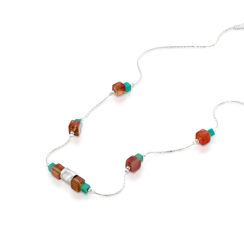 "Turquoise & Carnelian 925 Sterling Silver Square Bead Necklace Stylish Women's Jewelry, 18"" + 4"" Extender"