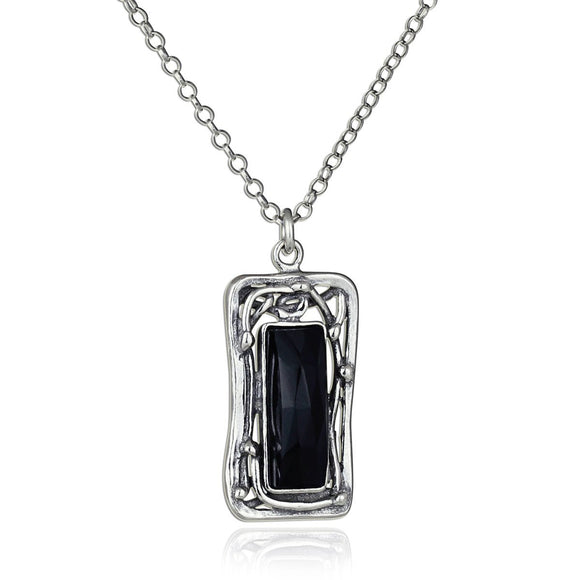 Ornate Rectangle Black Onyx Pendant 925 Sterling Silver Necklace, 18